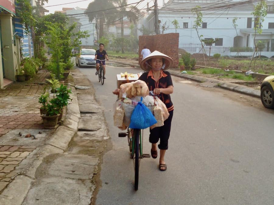 Using bicycles to sell food in Hanoi, Vietnam.