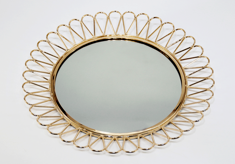 Metal Tray with Glass