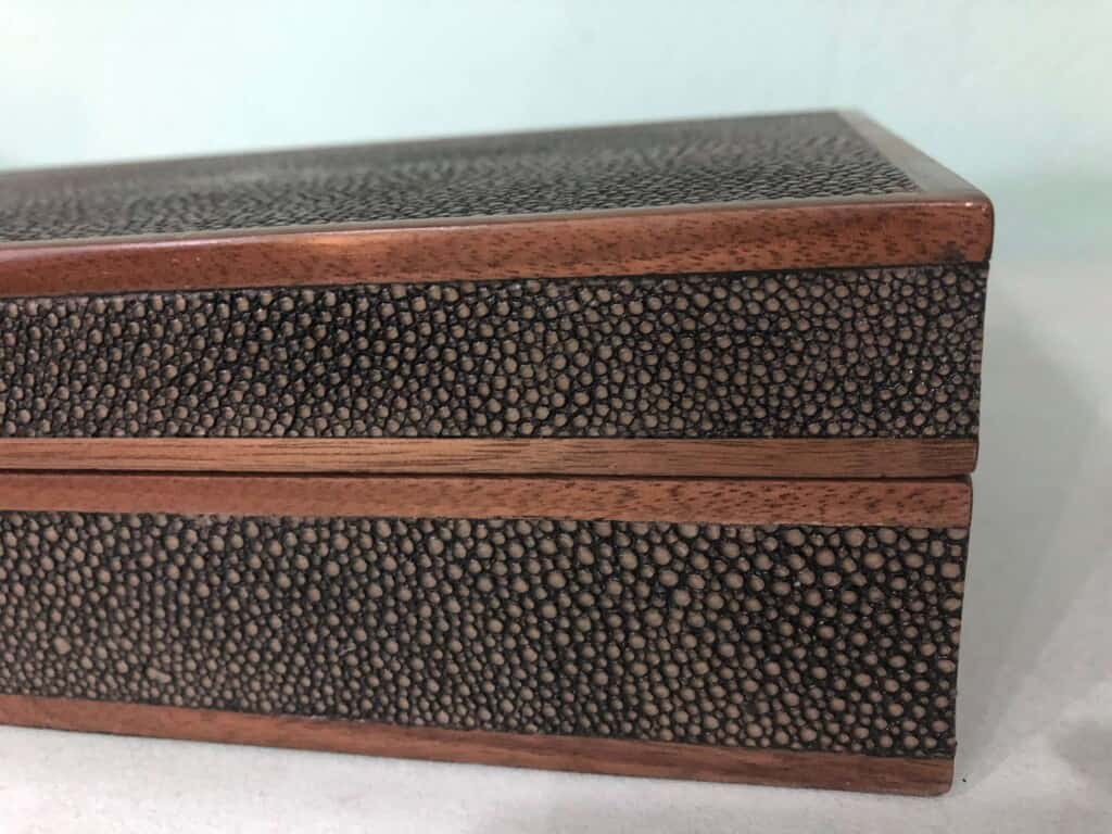 Close Up of Faux Shagreen Box With Metal Trim.
